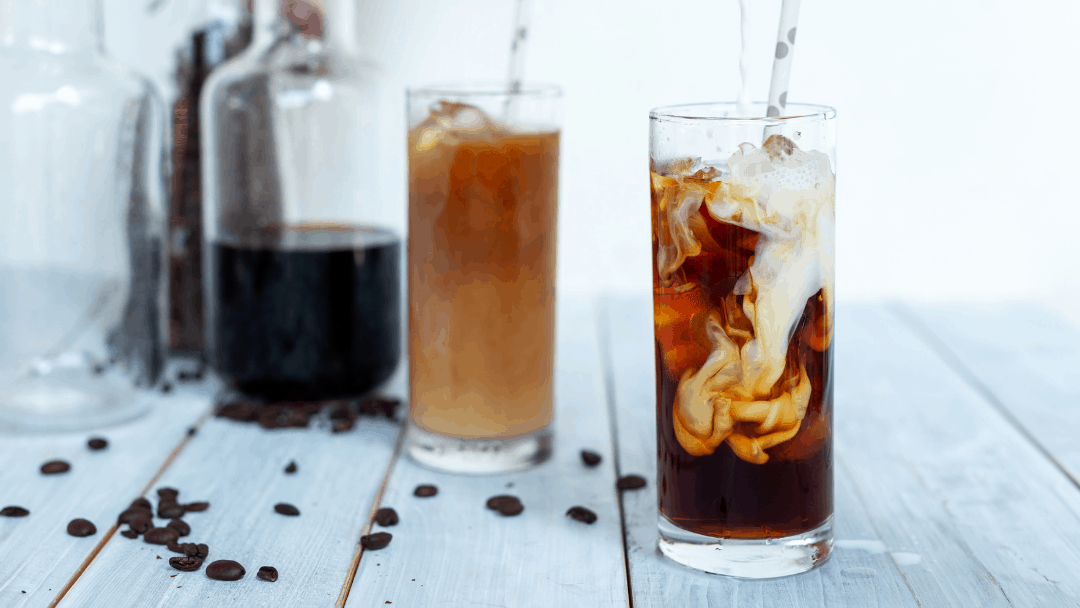 Cold brew coffee in glasses