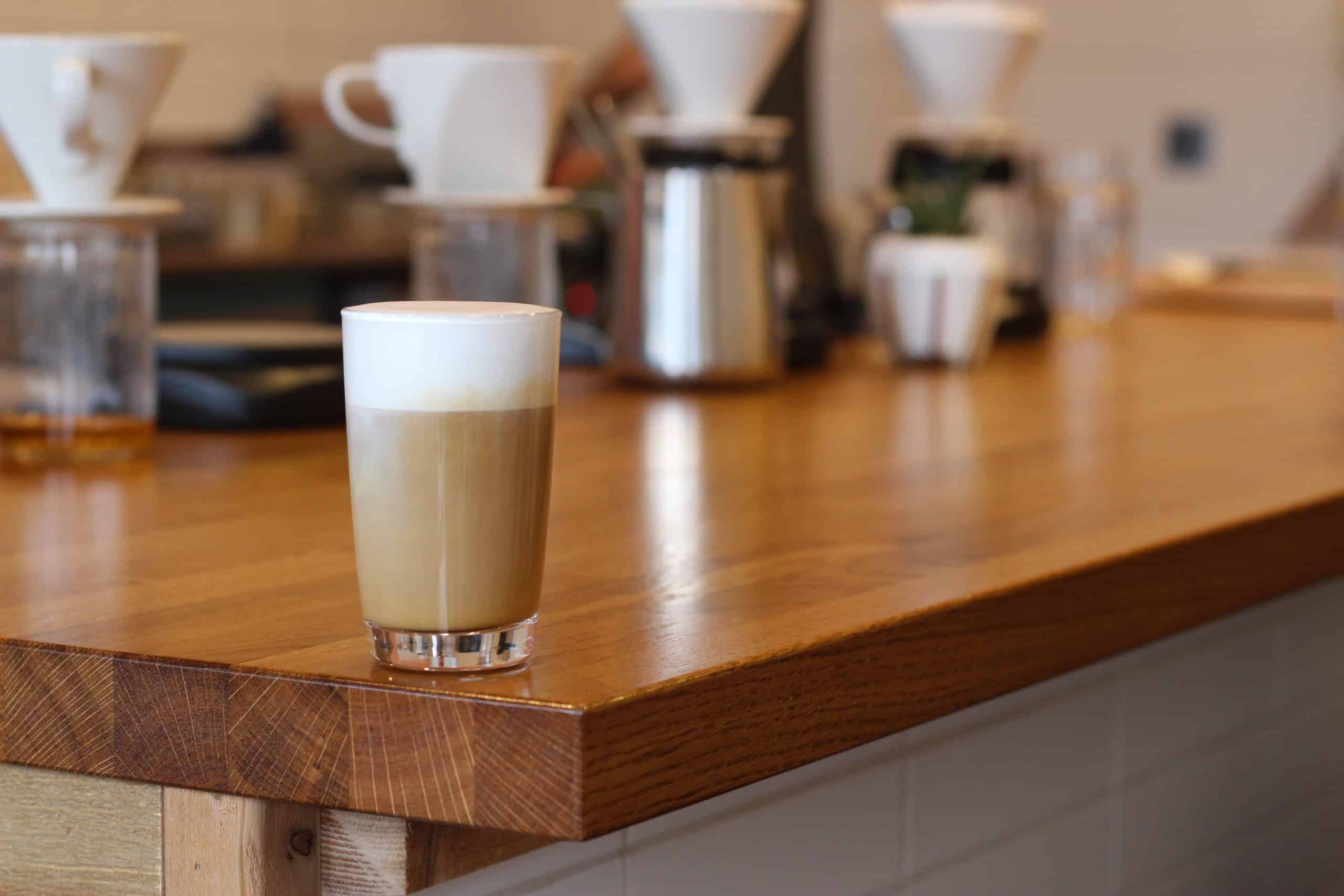 Cappuccino on bar at Modus Coffee Roasters