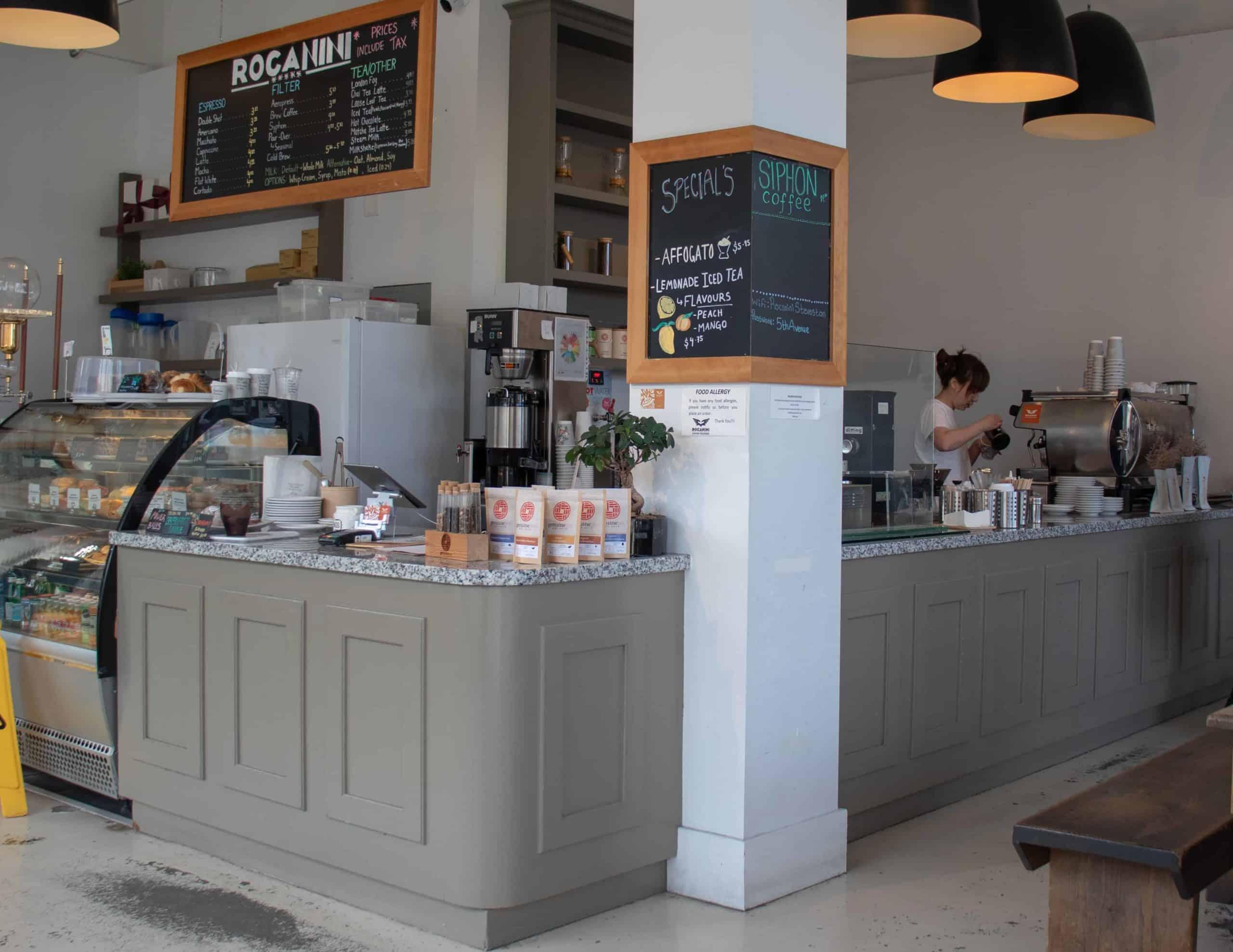 The inside of Rocanini Coffee Shop