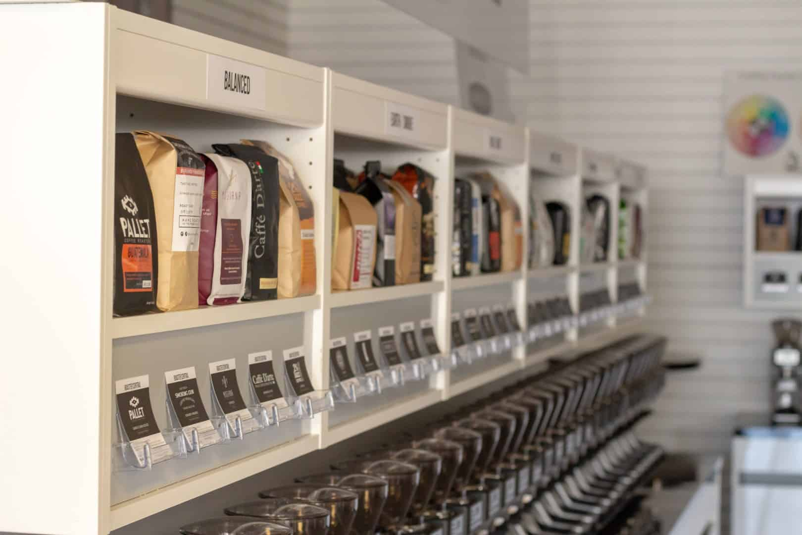 Line of coffee at Espressotec Roaster Central
